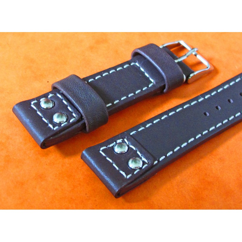 "Genuine Leather ""Flieger"" Riveted Brown Buffalo Leather Vintage Aviator Watch Strap 20mm OMEGA, IWC, Breitling"