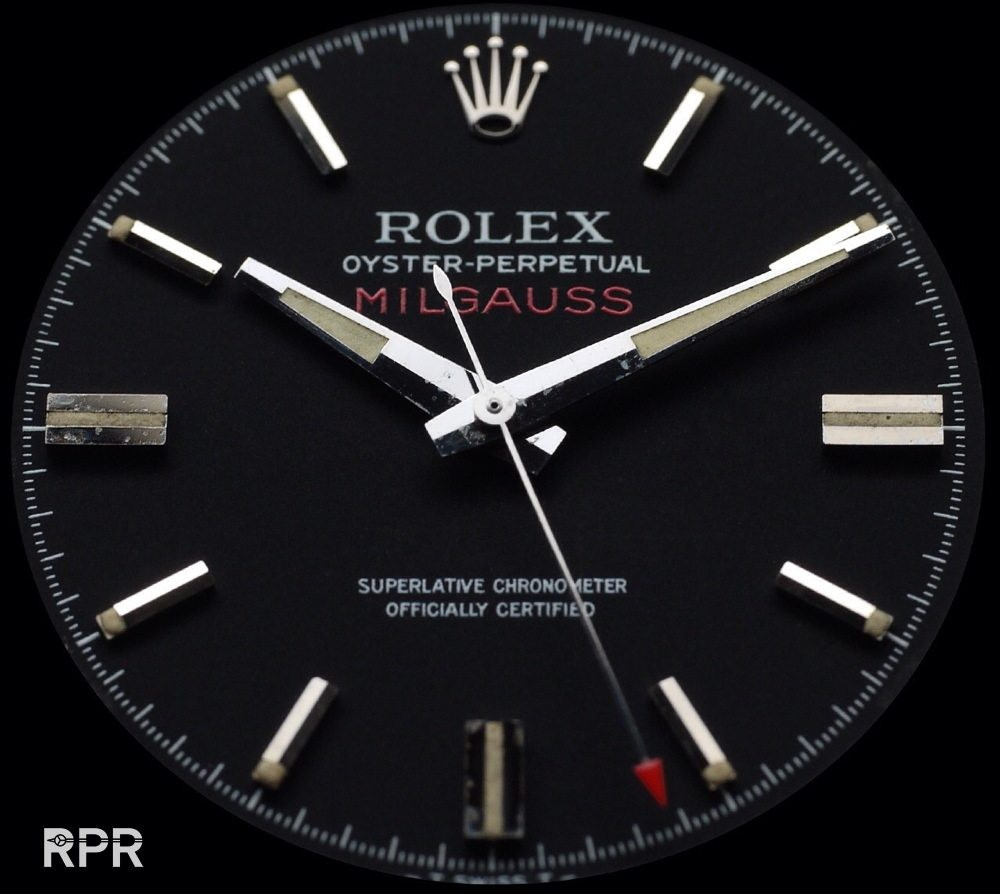 Rolex Highly Collectible Milgauss 1019 watch tritium Seconds Silver / Red arrow hand NOS Antimagnetic caliber automatic 1580