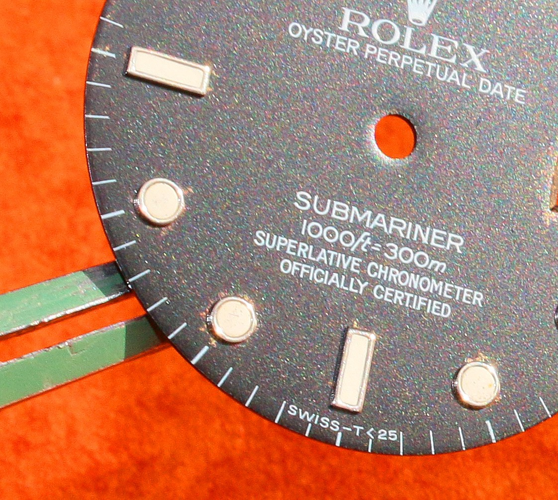 Rolex Factory Glossy Black watch dial 16800, 168000, 16610 Submariner date Black Index Luminova cal 3035, 3135