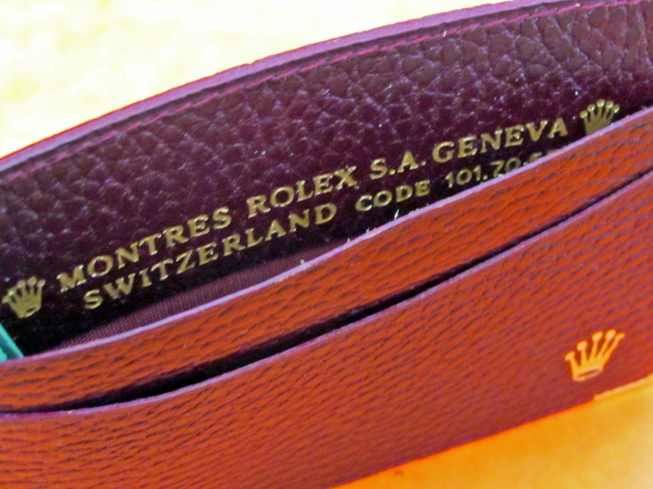 PORTE CARTES DOCUMENTS ROLEX MARRON BORDEAUX EN CUIR ref 101 70 55