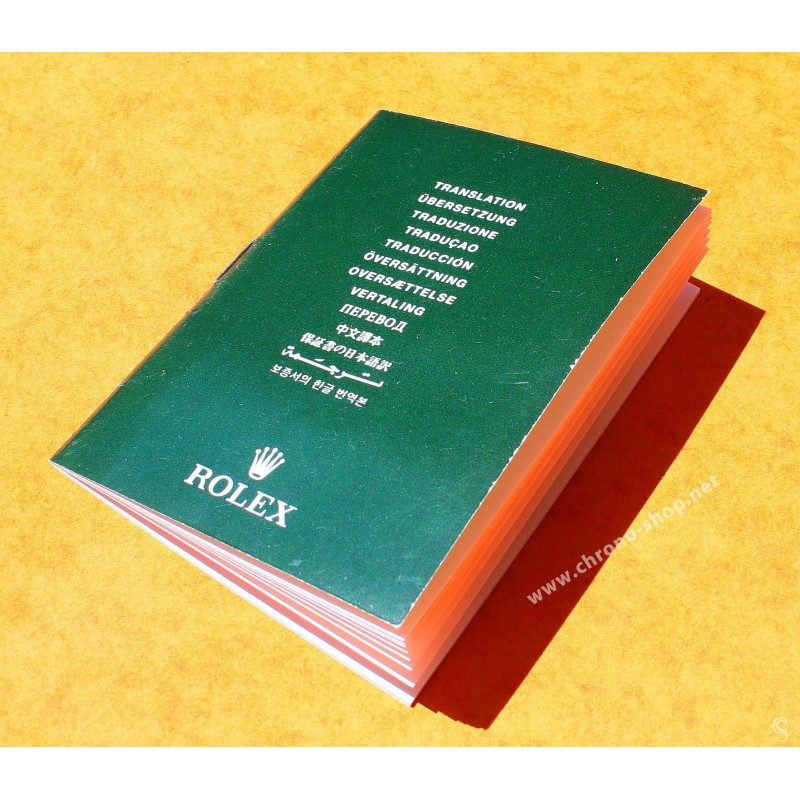 MINI MANUEL, LIVRET TRANSLATION DE MONTRES ROLEX OYSTER SUB, MILGAUSS, DAYTONA, EXPLORER ANNÉES 2000 ref 565.01