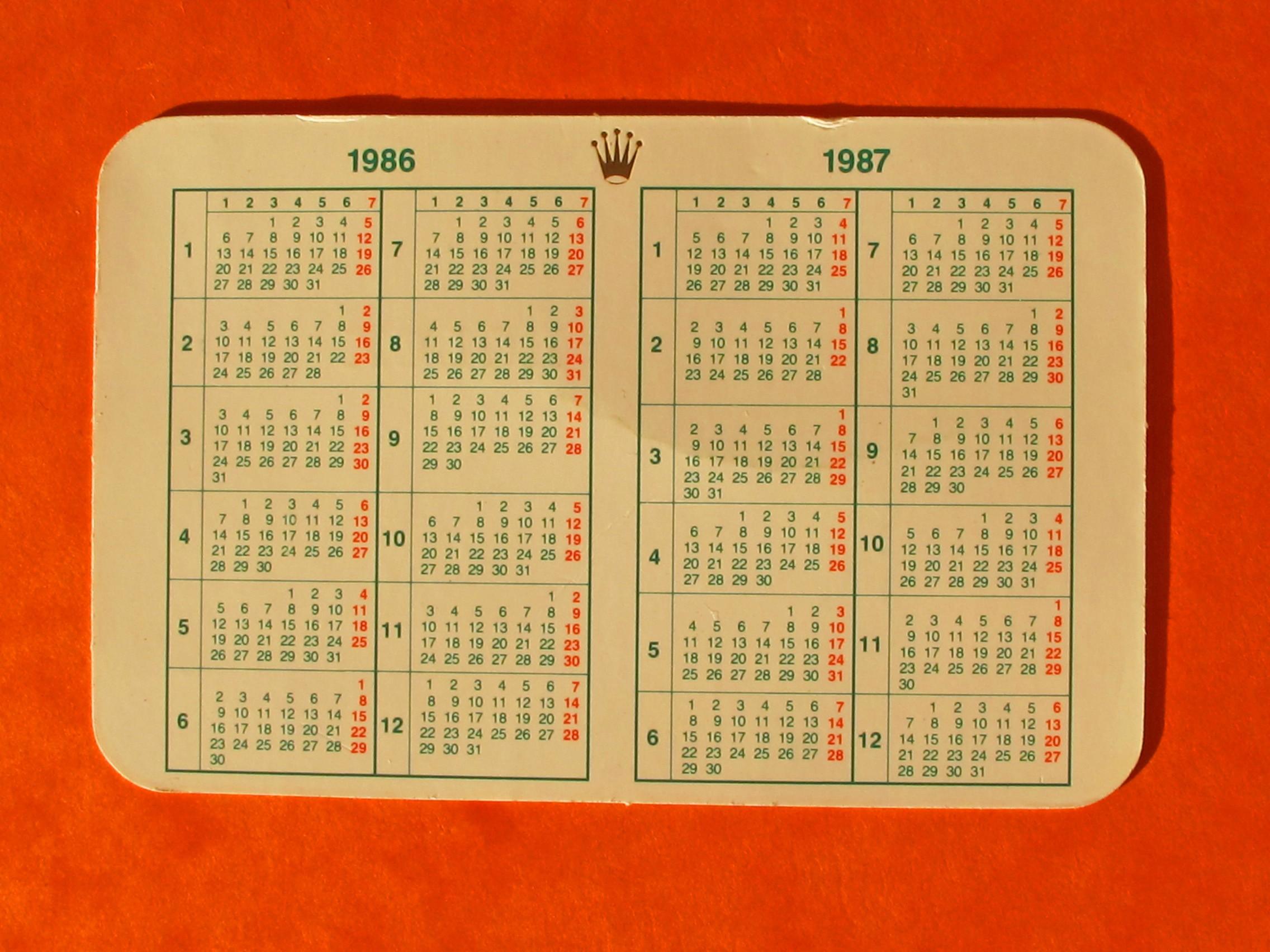 CALENDRIER ROLEX 1986-1987