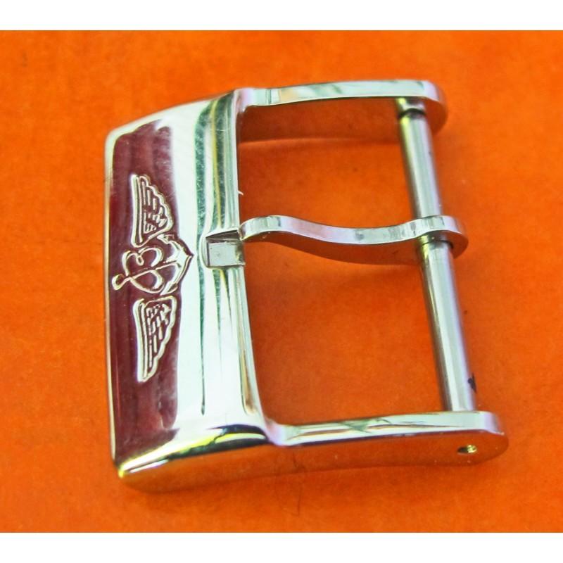 Authentic Breitling SS Buckle bracelet strap leather rubber 18mm inside measurement