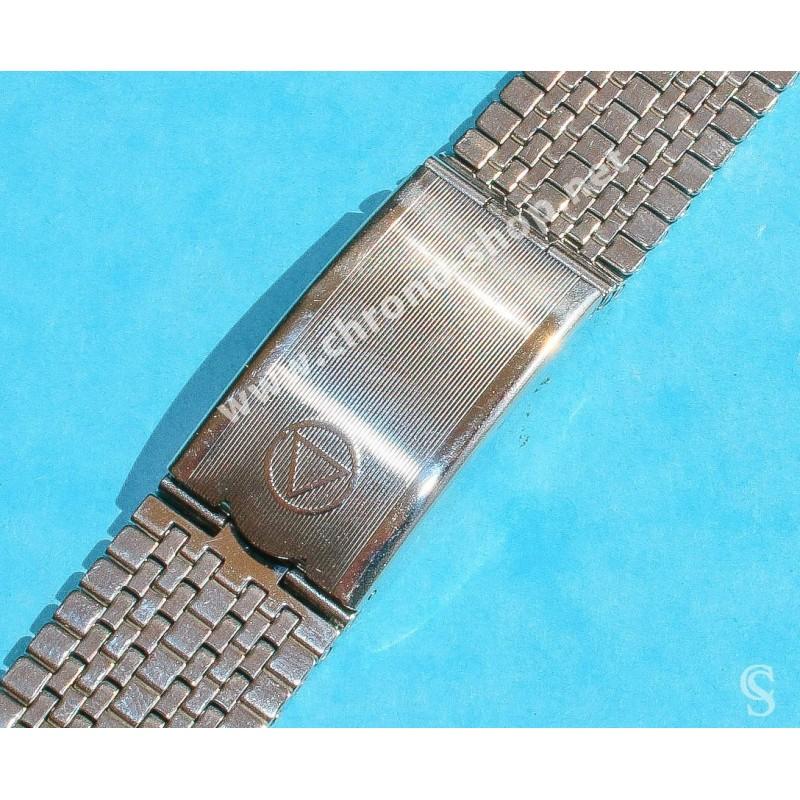 NSA Rare 70's New, NOS Swiss band Ssteel Watch Sport Bracelet Favre Leuba Deep Blue Sea Sky Bathy Heuer, 24mm ends