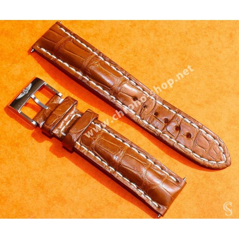 Breitling Accessoire montres AirBorne, Chronomat, Colt, Rare Bracelet Cuir Brun Tabac Crocodile 20mm 20-18mm Ref 722P