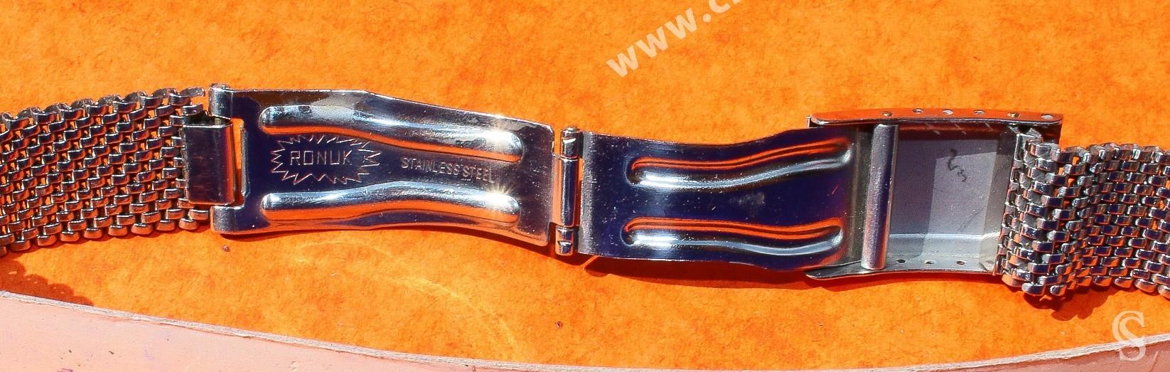 Bracelet RONUK 19mm Vintage de Montres en acier années 60-70 Mesh, milanais Breitling, Omega, heuer, Tissot, IWC, Jaeger
