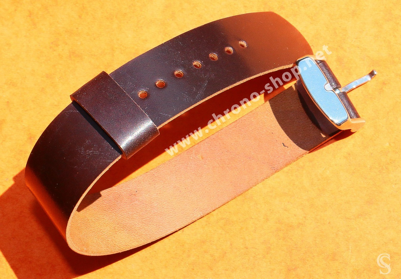 Brown Horween Shell Cordovan 1 piece leather watch strap Anciennes Rolex, Tudor, IWC, Breitling, Omega